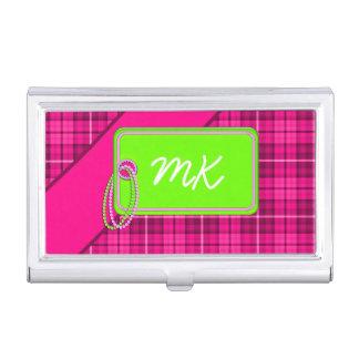 Tag on Tartan; Pink/LimenID391 Business Card Holder