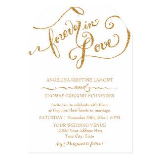 Tag Style Script Forever in Love Gold Glitter 13 Cm X 18 Cm Invitation Card