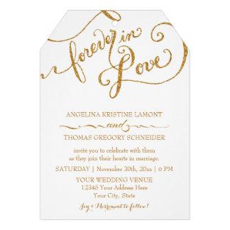 Tag Style Script Forever in Love Gold Glitter Custom Invites
