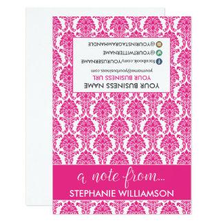 TAG Stylist Damask Notecards (fuchsia) 9 Cm X 13 Cm Invitation Card