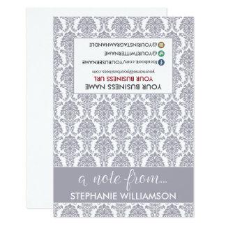 TAG Stylist Damask Notecards (grey) 9 Cm X 13 Cm Invitation Card