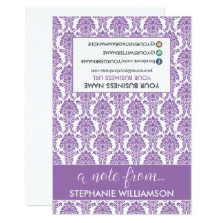 TAG Stylist Damask Notecards (purple) 9 Cm X 13 Cm Invitation Card