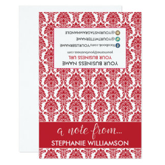 TAG Stylist Damask Notecards (red) 9 Cm X 13 Cm Invitation Card