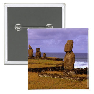 Tahai Platform Moai Statue Abstracts Easter 15 Cm Square Badge