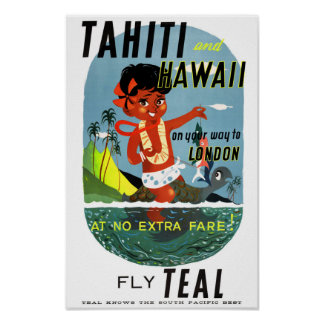 Tahiti Hawaii Vintage Travel Poster Restored