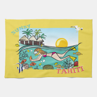 TAHITI KITCHEN TOWEL.  TROPICAL FISH PARADISE DIVE TEA TOWEL