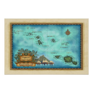 Tahiti Map Poster