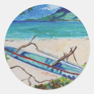Tahiti Outriggger Classic Round Sticker
