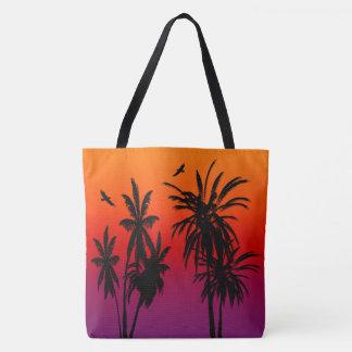 Tahiti Sunset Haze Black Palm Trees Circling Hawk Tote Bag