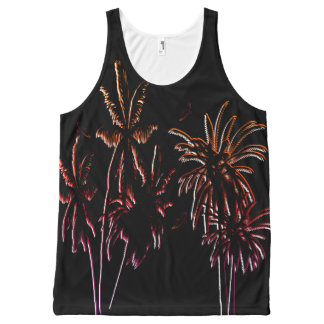 Tahiti Sunset Palm Trees Black Night Tropical All-Over Print Singlet