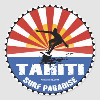 tahiti surfing paradise sticker