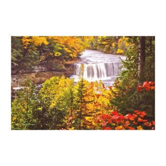 TAHQUAMENON FALLS (MICHIGAN U.P.) WITH FALL COLOR CANVAS PRINT
