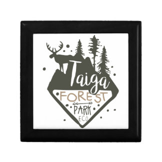 Taiga forest eco park promo sign gift box