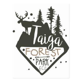 Taiga forest eco park promo sign postcard
