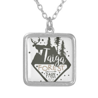Taiga forest eco park promo sign silver plated necklace