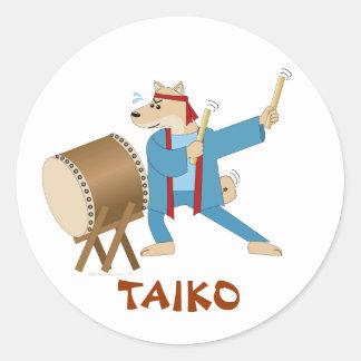 Taiko Drum Cartoon Dog Taiko Drummer Classic Round Sticker