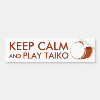 Taiko Gifts Keep Calm and Play Taiko Drum Custom Bumper Sticker