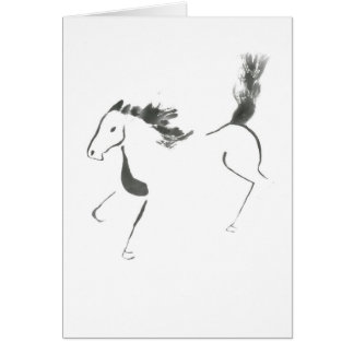 Tail High, Sumi-e Year of the Horse Card