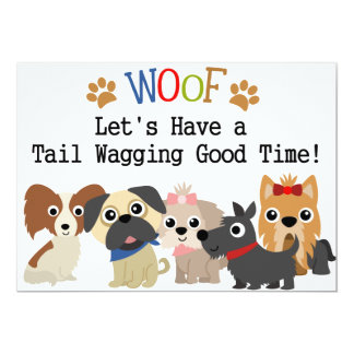 Tail Wagging Dog Birthday Invitation