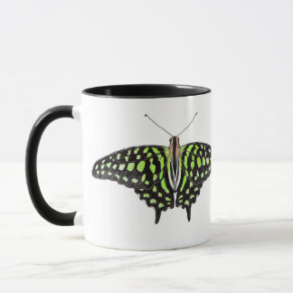 Tailed Jay Green and Black Butterfly Painting Mug
