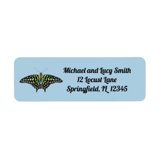 Tailed Jay Green and Black Butterfly Painting Return Address Label