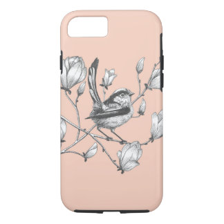 tailed tit on magnolia flowers elegant phone case