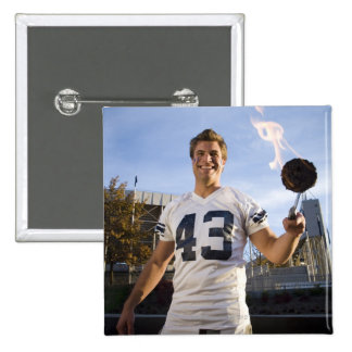 tailgate party before a football game 15 cm square badge