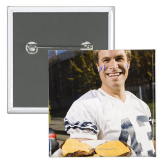 tailgate party before a football game 2 15 cm square badge