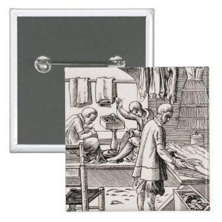 Tailor, reproduction of a woodcut 15 cm square badge