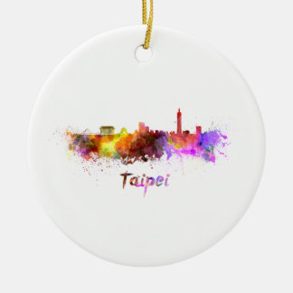 Taipei skyline in watercolor ceramic ornament