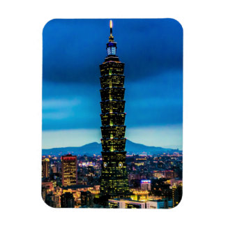 Taipei, Taiwan Skyline at Night Magnet