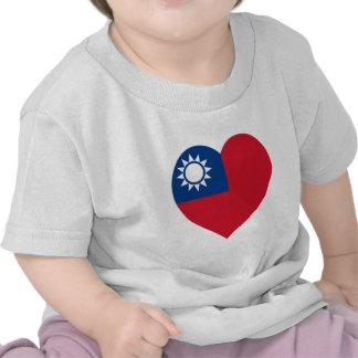 Taiwan China Flag Heart Tshirts