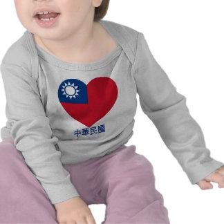 Taiwan Flag Heart Tee Shirts