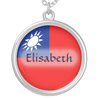 Taiwan Flag + Name Necklace