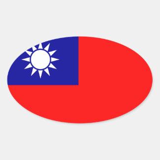 Taiwan* Flag Oval Sticker