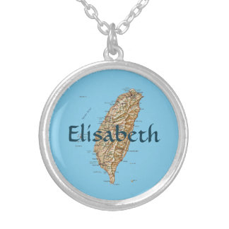 Taiwan Map + Name Necklace