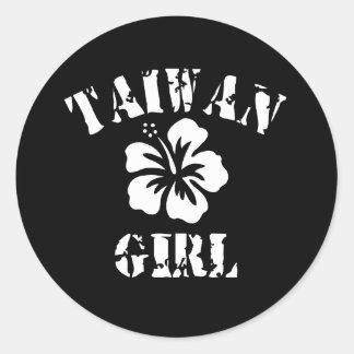 Taiwan Pink Girl Round Sticker