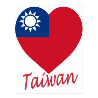 Taiwan (Republic of China) Flag Heart Postcard