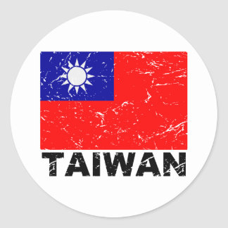 Taiwan Vintage Flag Classic Round Sticker