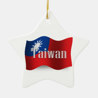 Taiwan Waving Flag Ceramic Ornament