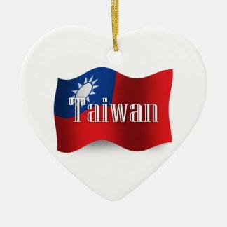 Taiwan Waving Flag Ceramic Ornament