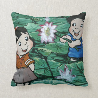 Taiwanese children in lily pond cushion