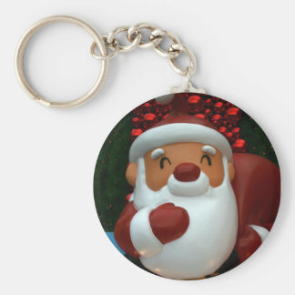 Taiwanese Father Christmas Basic Round Button Key Ring