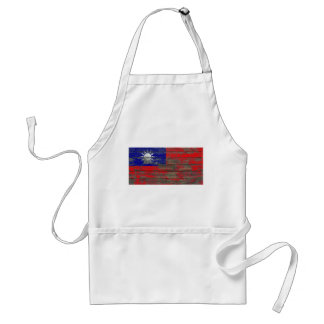 Taiwanese Flag on Rough Wood Boards Effect Standard Apron