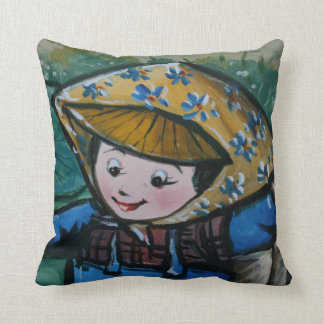 Taiwanese girl in lily pond cushion