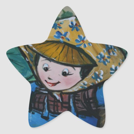Taiwanese girl in lily pond star sticker