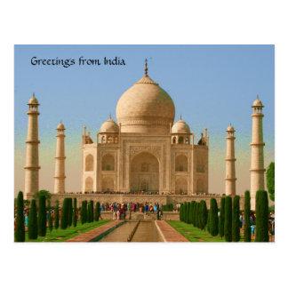 taj mahal bright postcard