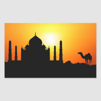 Taj Mahal & Camel On Sunset Background Rectangular Sticker