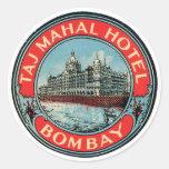 Taj Mahal Hotel Bombay Luggage Tag Classic Round Sticker
