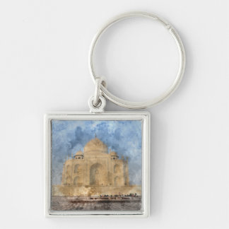 Taj Mahal in Agra India - Digital Art Watercolor Key Ring